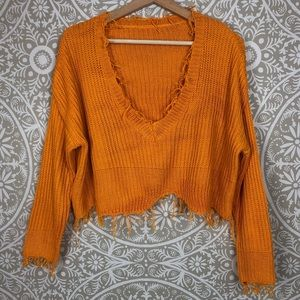 Sincere Sally |Marigold Colored Distressed Sweater